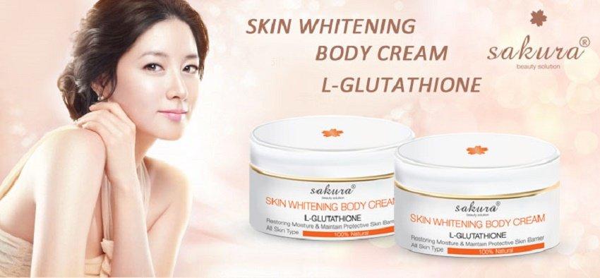 Kem dưỡng trắng toàn thân Sakura Skin Whitening L-Glutathione Body Cream