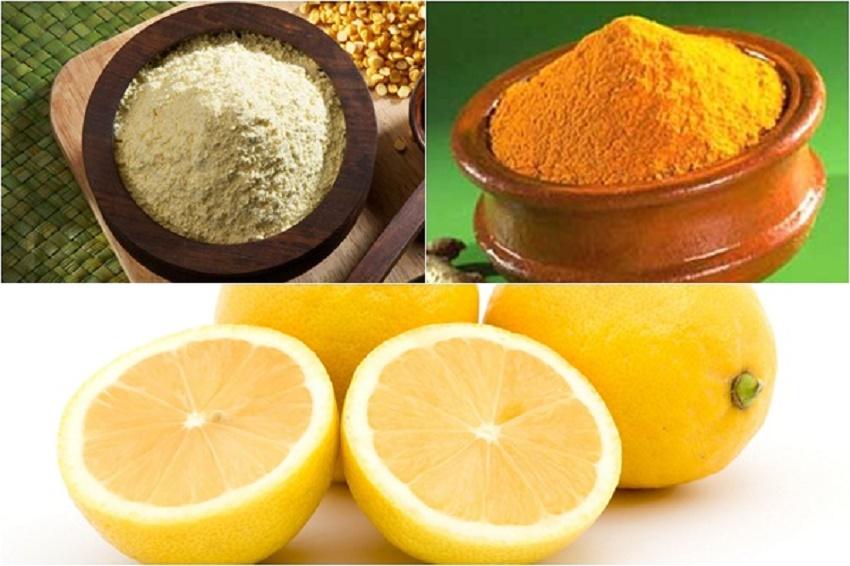 Nguyên liệu làm kem dưỡng da từ bột đậu xanh, bột nghệ và nước cốt chanh
