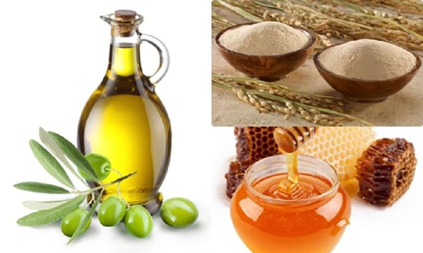 Hỗn hợp mật ong, cám gạo và dầu olive