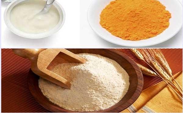 Mặt nạ tinh bột nghê, bột gạo và sữa chua