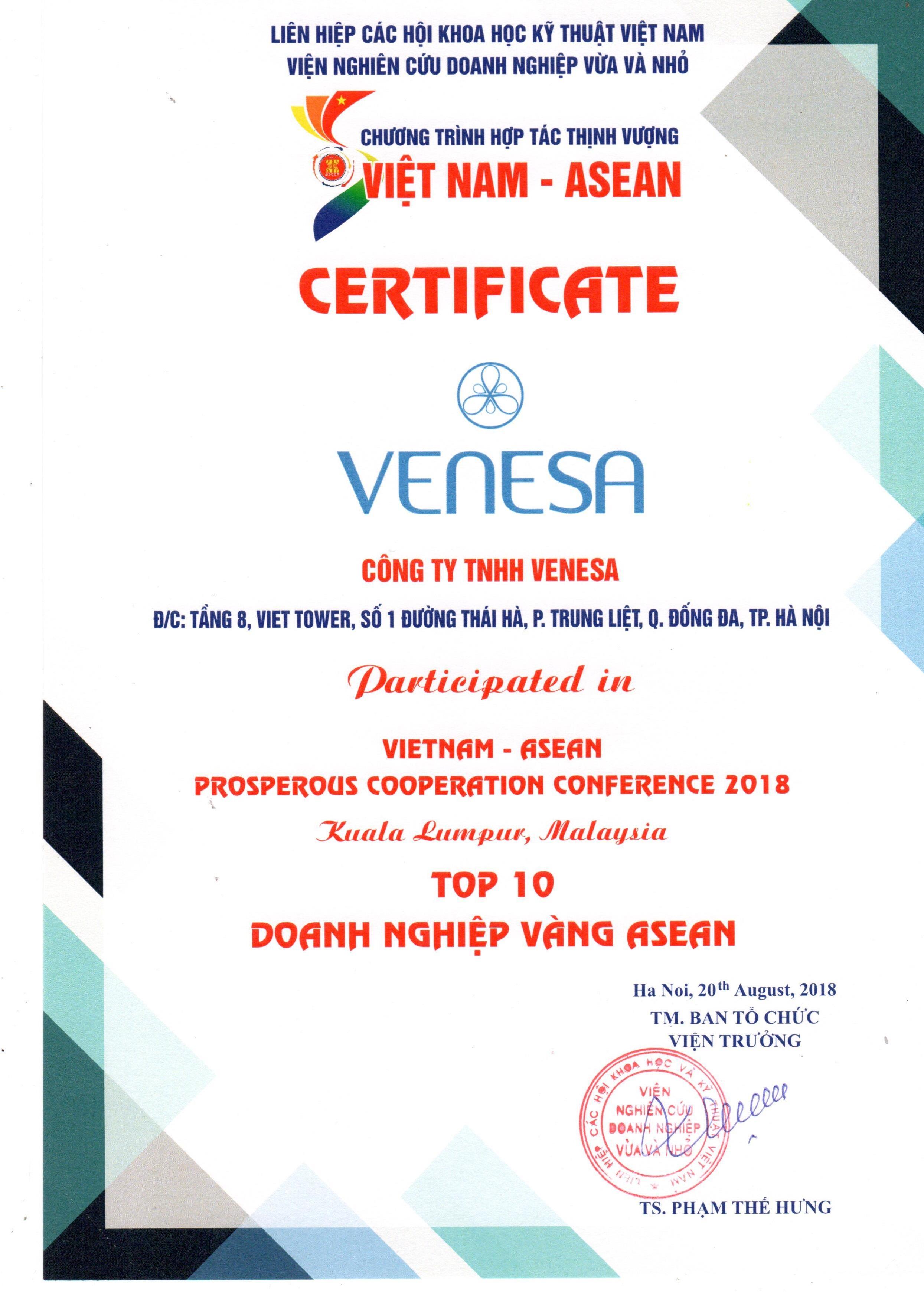Venesa lọt Top 10 Doanh nghiệp vàng ASEAN
