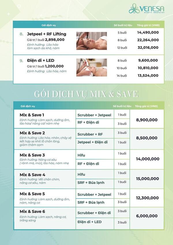 chi phí dịch vụ venesa spa lê lai